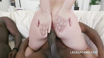 Barely legal 18-year-old Selvaggia DAP'ed upon slay rub elbows with extreme by 3 black dicks