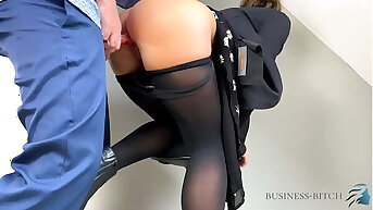 young business woman used in her X-rated nylons - pantyhose compilation, business-bitch