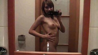Bathroom hot pussy fingering