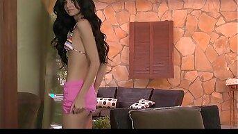 Remarkable bikini clad brunette Zoey Kush strips down to masturbate