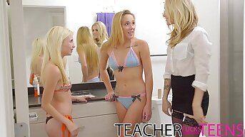 Teacher seduces partisan cock and young girlfriends