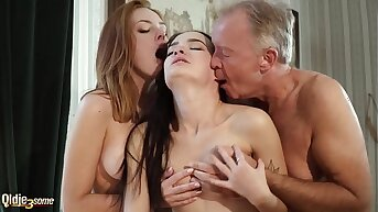 Hot old and young threesome sexual relations during a labour interview