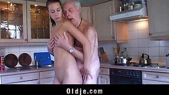 Fetishist brunette the fate of wrinkled old man