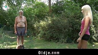 A handful of horny girlhood is fucking the venerable woodcutter