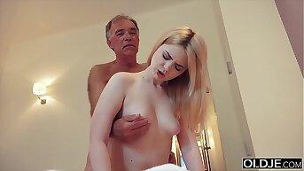 Nympho sucks grandpa cock helter-skelter the addition of has sex helter-skelter him helter-skelter her bedroom