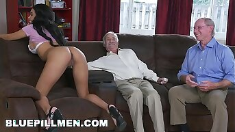 Erotic Drizzle MEN - A Couple Of Old Men Have Fun With Young Black Goddess Aaliyah Hadid