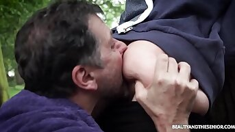 Old Phelippe Fucks Dirty Teressa Bizzare in the air Nature