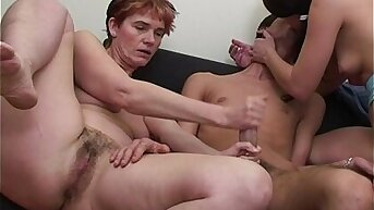 Trio Mother Daughter Tandem Fucking Young Cock