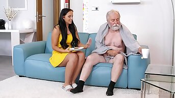 Dark haired hottie visits an age-old man complacent on couch
