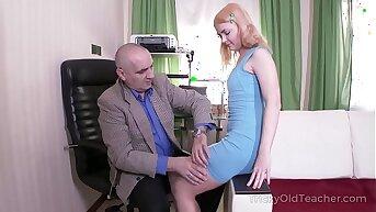 Tricky Old Teacher - Old lock tireless teacher satisfies blonde