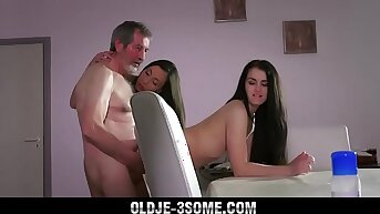 Hot girlhood fucked in sensual old young threesome with cum swap blowjob