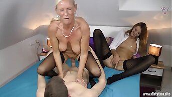 Two Milfs fucked hard with a young Pupil