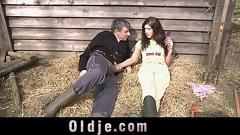 Slutty countryside piece of baggage sucking and fucking farmer's dick
