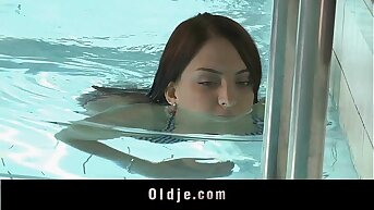 Sweet redhead teen sucking old cock elbow the pool