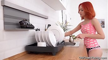 Old Goes Young - Crotchety chick rides a hard cock in kitchen
