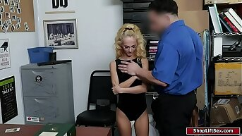 Teeny-weeny peaches groped by a security guard