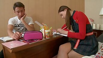 When Studying gets bored Teen Tight Girl Rides Her Boyfriend´s Big Fat Blarney